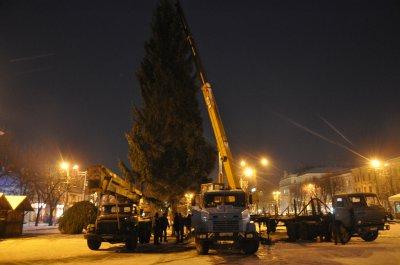 Главная елка Черновцов укоротились на метр