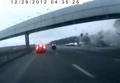Видео аварии Ту-204 с регистратора автомобиля