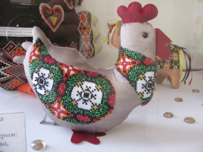 The exhibition in Chernivtsi - embroidered owl and magnets