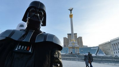 Mother Alina Grosu in elections yields even Darth Vader