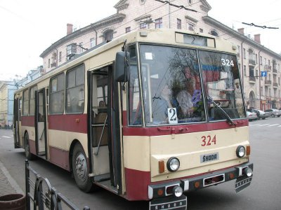 Chernivtsi route two trolley bus ride temporarily