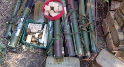 СБУ виявила в зоні АТО схованку з великою кількістю ракет та гранат