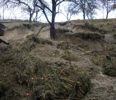 В селе на Буковине оползень - люди говорят , что из-за вырубки деревьев