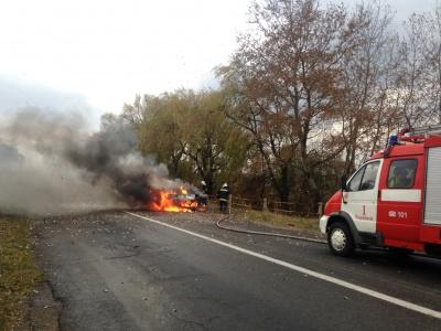 """З'явилося відео пожежі """"Мерседеса"""", що згорів на Буковині"""