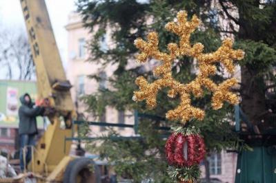 У Чернівцях почали прикрашати новорічну ялинку (ФОТО)