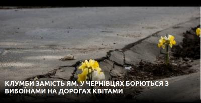 У Чернівцях студенти висадили квіти прямо на дорозі - щоб привернути увагу до ям