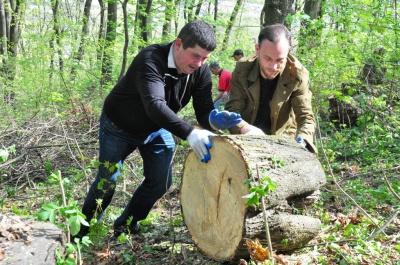 У Чернівцях нардеп Бурбак з чиновниками прибрали парк і відвантажили дрова учаснику АТО (ФОТО)