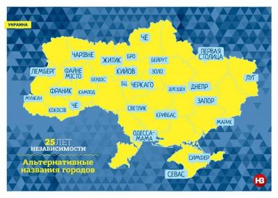 Че, Кокосів, Чарівне: в мережі склали картку альтернативних назв українських міст