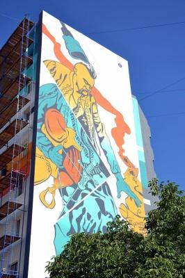 У Франківську на багатоповерхівці намалювали Миколайчука на всю стіну