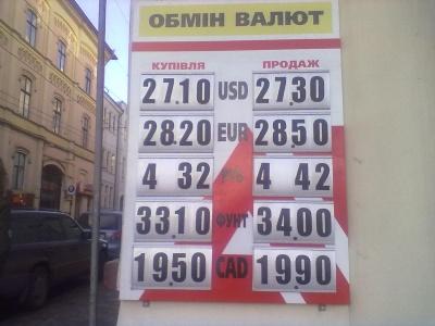 Гривня продовжує падати, - курс валют в обмінниках Чернівців