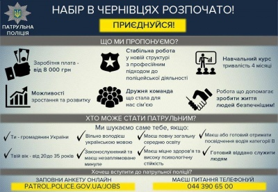 У Чернівцях оголосили набір кандидатів на посаду інспектора патрульної поліції