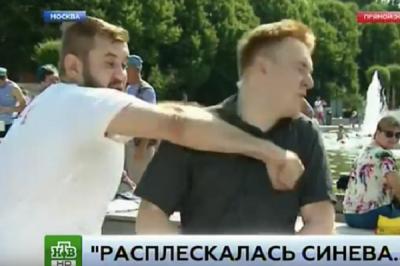 У Росії п'яний ВДВшник побив журналіста у прямому ефірі (ВІДЕО)