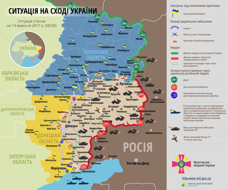 Штаб: Взоні АТО протягом дня поранено двох українських військових