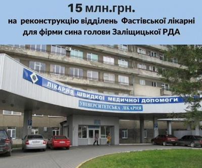 Лікарню на Фастівській у Чернівцях за 15 млн грн відремонтує фірма сина голови Заліщицької РДА
