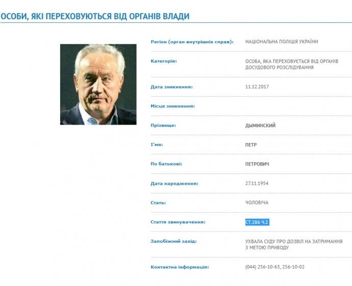 Поліція надіслала документи до Інтерполу на міжнародний розшук Димінського