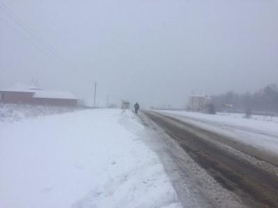 На трасі «Чернівці-Порубне» через нерозчищений сніг стоять вантажівки