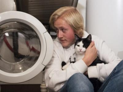 Кіт вижив після 40 хвилин прання у машинці