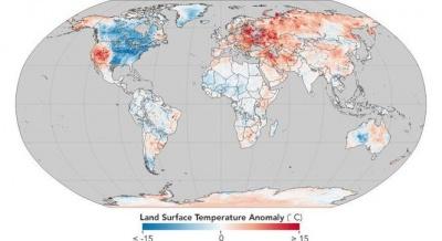 NASA показало карту аномальних морозів у Північній Америці та тепло в зимовій Європі