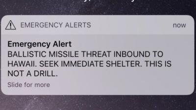 Губернатор Гаваїв прокоментував помилкове попередження про загрозу ракетного удару