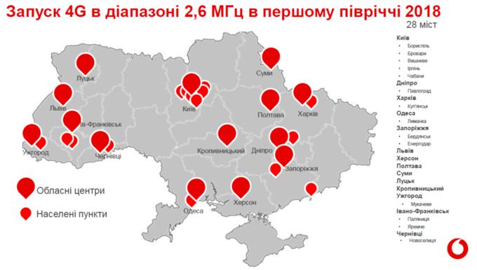 «Vodafone Україна» з30 березня запустить 4G зв'язок у20 містах