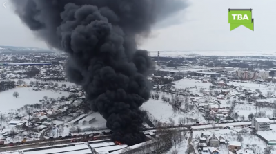 В сети появилось видео пожара на Калинке, снятое с высоты птичьего полета
