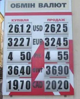 Курс валют у Чернівцях на 26 березня (ФОТО)