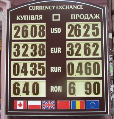 Курс валют у Чернівцях на 27 березня (ФОТО)