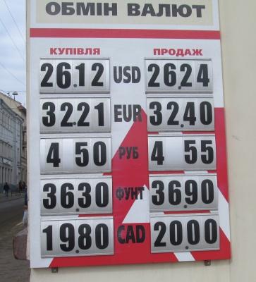 Курс валют у Чернівцях на 30 березня (ФОТО)