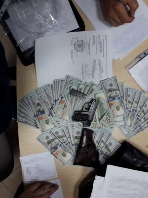 Під час обшуку у Вишинського знайшли 200 тисяч доларів та пістолет
