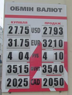 Курс валют у Чернівцях на 22 серпня