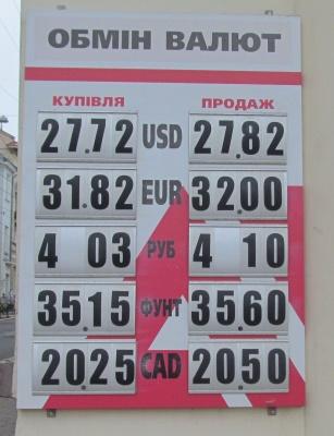 Курс валют у Чернівцях на 27 серпня