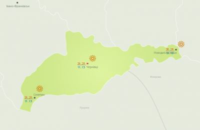 Без опадів: погода на Буковині 31 серпня
