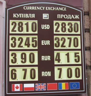 Курс валют у Чернівцях на 7 вересня