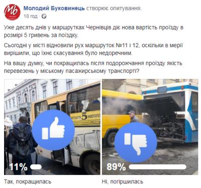 Більшість читачів МБ не влаштовує якість перевезень маршрутками після підвищення тарифів у Чернівцях