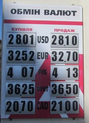 Курс валют у Чернівцях на 19 вересня