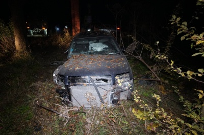 На Буковині легковик на «бляхах» врізався у лісовоз: автівка злетіла у дерево - фото