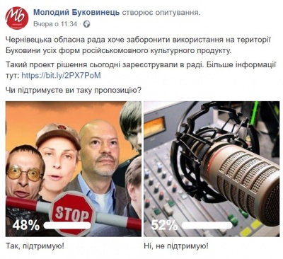 Більшість читачів МБ не підтримує заборону російськомовного культурного продукту на Буковині
