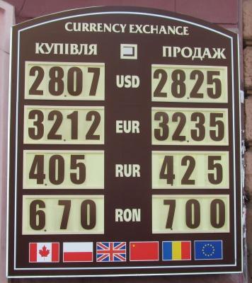 Курс валют у Чернівцях на 25 жовтня