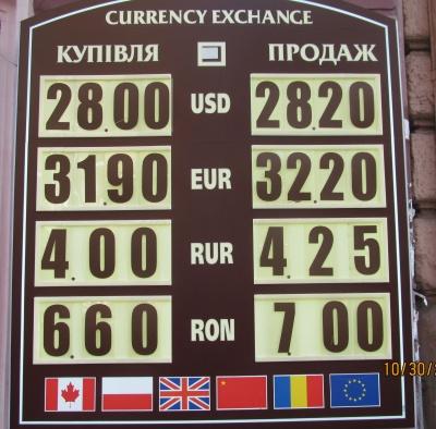 Курс валют у Чернівцях на 30 жовтня