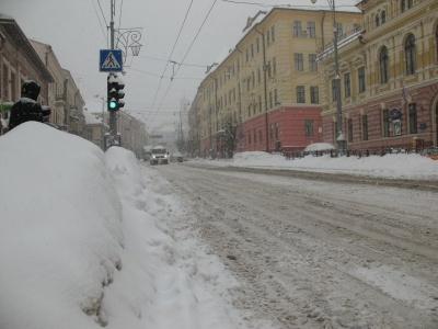 Штормове попередження. У найближчі три години на Буковині очікується сильний снігопад