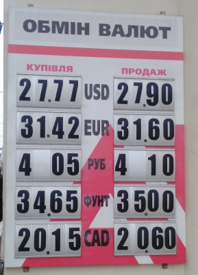 Курс валют у Чернівцях на 19 грудня