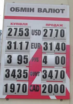 Курс валют у Чернівцях на 24 грудня