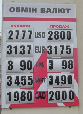 Курс валют у Чернівцях на 29 грудня