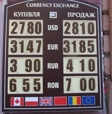 Курс валют у Чернівцях на 8 січня
