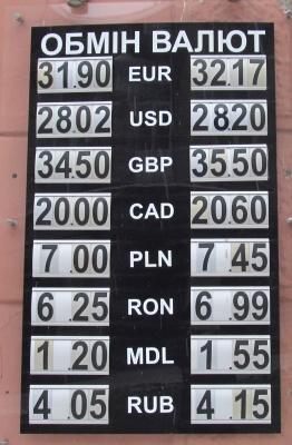 Курс валют у Чернівцях на 11 січня
