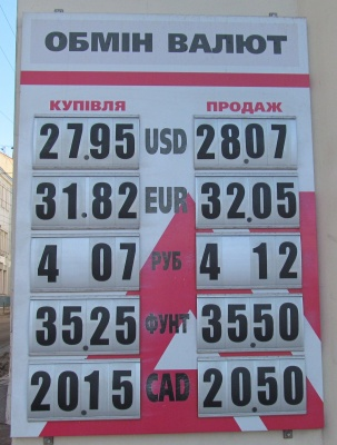 Курс валют у Чернівцях на 15 січня