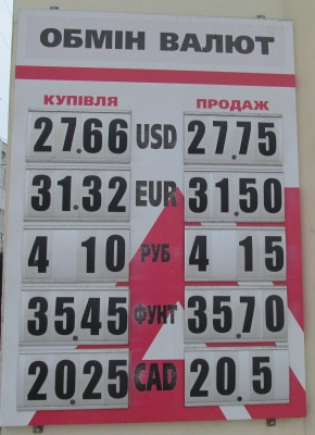 Курс валют у Чернівцях на 25 січня