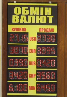 Курс валют у Чернівцях на 21 березня