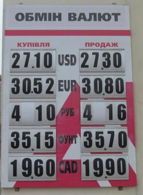 Курс валют у Чернівцях на 28 березня