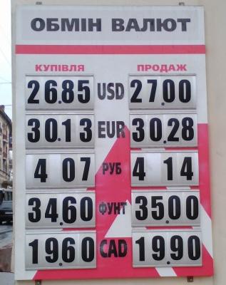Курс валют у Чернівцях на 11 квітня